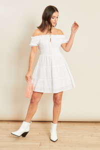 White Broderie Tiered Shirred Waist Mini Bardot Dress