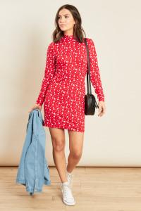 Red Jersey Long Sleeve High Neck Mini Dress