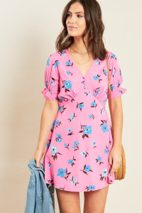 Pink Floral Print Ruffle Cuff Puff Sleeve V Neck Mini Tea Dress