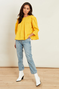 Yellow Cotton Tiered Top with Lace up Back
