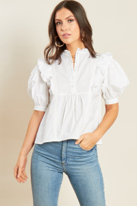White Cotton Button Detail Peplum Hem Top with Puff Sleeve Ruffle Detail