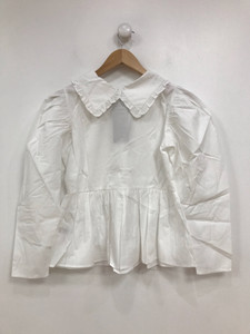 White Cotton Poplin Collared Long Sleeve Shirt