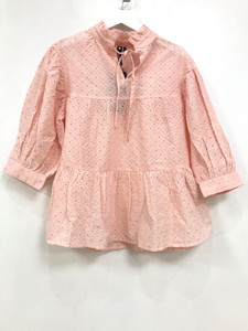Peach Tiered Smock Top With Neck Tie In Cotton Broderie Anglaise