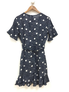 Navy Mono Spot Wrap Dress