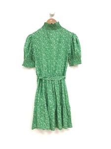 Green Ditsy High Neck Dress