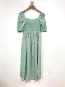 Green Ditsy Midi Shirred Dress