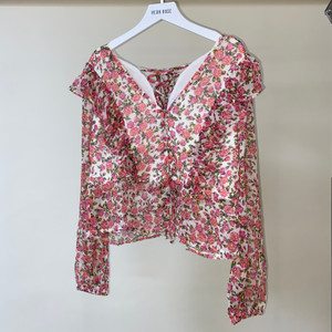 Pink Mabel Ditsy Rose Tie Back Ruffle Frill Blouse