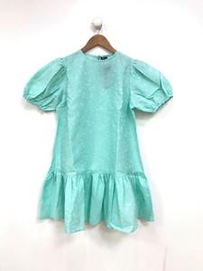 Green Jacquard Drop Waist Dress