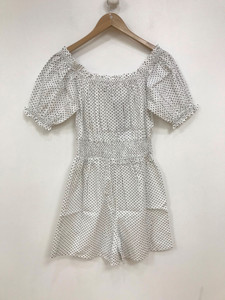 White With Black Spot Cotton Playsuit