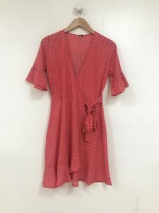 Red and White Heart Print Wrap Frill Hem Mini Dress