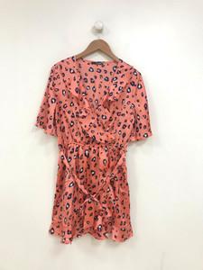 Coral Animal Print Satin Wrap Mini Dress