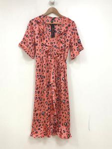 Coral Animal Print Satin Wrap Midi Dress