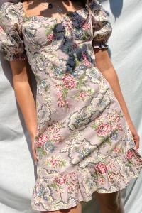 Esmee Tapestry Milkmaid Puff Sleeve Mini Dress