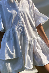 White Cotton Asymmetric Shirt Dress