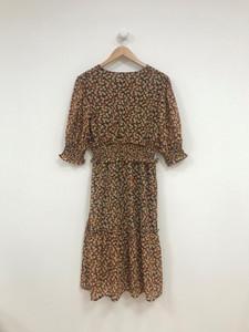 Shirred Waist Frill Hem Wrap Midi Dress