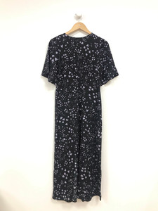 Black Heart Print Midi Dress