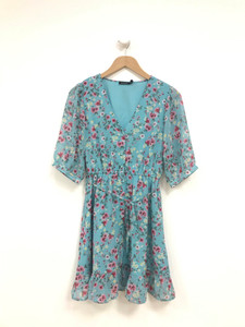 Blue Floral Ditsy Mini Dress