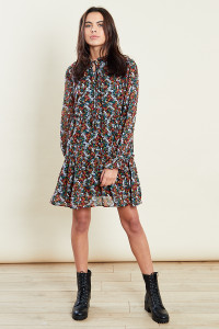 Tiered Trapeze Mini Dress With Tie Ruffle Neck