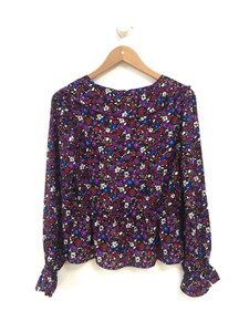 Purple Plunge Ruffle Blouse
