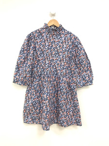Ditsy Print Tie Neck Smock Cotton Mini Dress