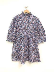 Ditsy Print Tie Neck Smock Cotton Mini Dress