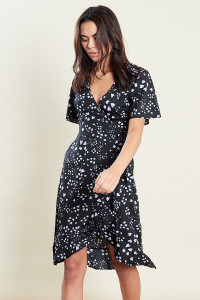 Black With Lilac Heart Print Wrap Over Frill Midi Dress