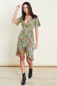 Floral Cluster Midi Wrap Dress