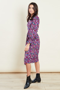 Purple Print Midi Wrap Dress