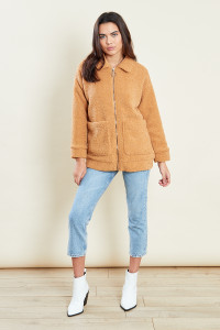 Camel Borg Teddy Ring Pull Zip Through Jacket