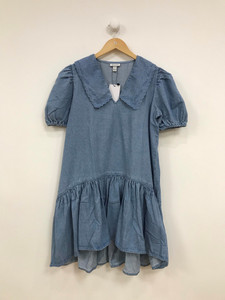 Plus Sizes Denim Smock Mini Dress With Contrast Collar