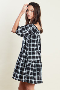 Black & White Dropped Hem Puff Sleeves Smock Mini Dress