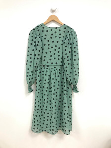 Green with Black Polka Dot Puff Sleeves Midi Wrap Dress