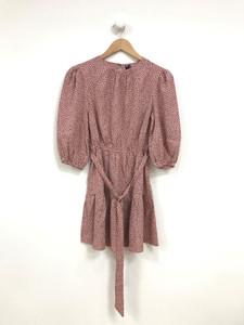 Round Neck Puff Sleeves Mini Dress