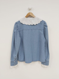 Puff Sleeves Denim Shirt With Contrast Broderie Collar/Trims