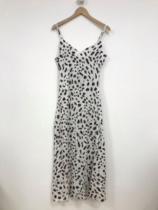 White Abstract Spot Strappy Slip Dress