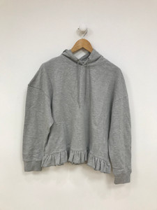 Grey Frill Oversize Hoodie