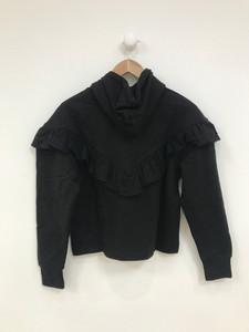 Black Hooded Ruffle Sweat Top