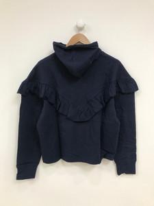 Navy Hooded Ruffle Sweat Top