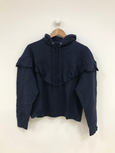 Navy Hooded Ruffle Sweat Top