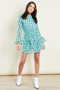 Green With Black Polka Dot Tiered Ruffle Mini Skater Dress