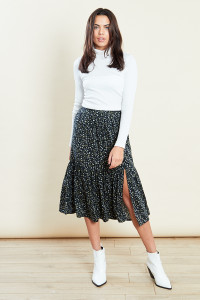 Dropped Hem Split Midaxi Skirt