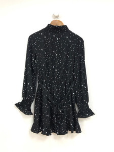 Black Star Print Shirred High Neck and Cuff Ruffle Hem Belted Mini Dress