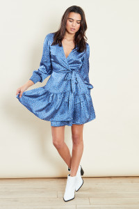 Blue Wrap Satin Mini Dress