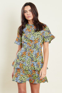 Multi Frill Detail Mini Dress