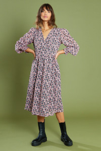 Multi Floral Puff Sleeves Midi Wrap Dress