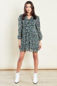Green Ruffle Detail Mini Smock Dress