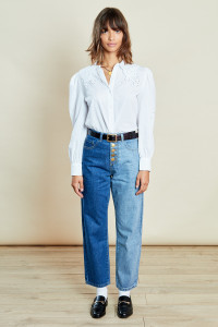 Blue Multi Button Front High Waist Mom Jeans