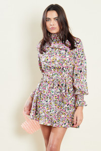 Floral Shirred High Neck & Cuff Ruffle Hem Long Sleeve Belted Mini Dress