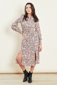 Floral Shirred Waist Midi Dress With Splits