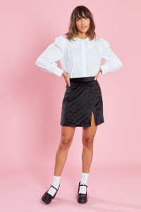 Black Diamond Quilted Velvet Mini Skirt With Split